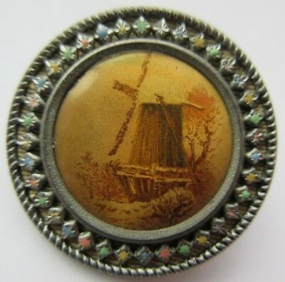 Wonderful LARGE Antique~ Vtg Victorian Celluloid Lithograph BUTTON Windmill (V)