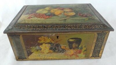 Vintage Tin Box Fruit Designs Mirror Inside Lid 1920s/30s French?