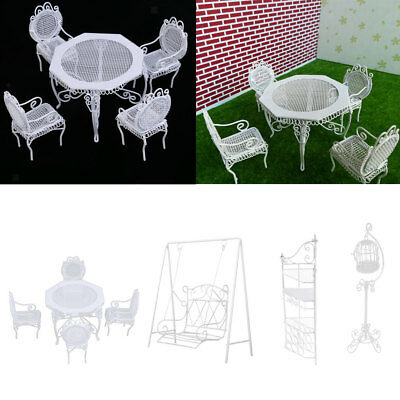 1/12 Doll House Miniature Garden Furniture Metal Table Chairs Birdcage Swing