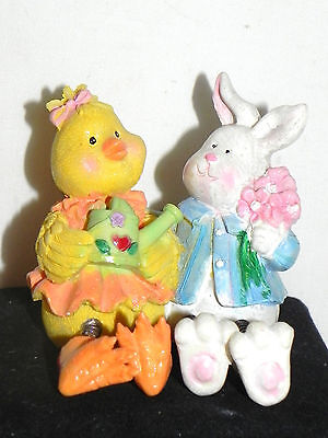 Estate  Easter Decor, Best Friends, Mr Easter Bunny and Ms Chickidee Figurine