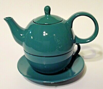 Stackable Teapot for One Green Gloss Finish English Tea Store Cup Saucer