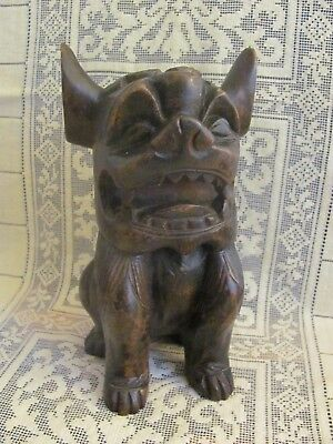 Vintage Hand Carved Chinese Wooden Fu Foo Dog Statue Figurine