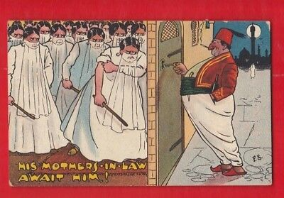 Comic, His Mother's in law await him!  Frede Stone Postcard