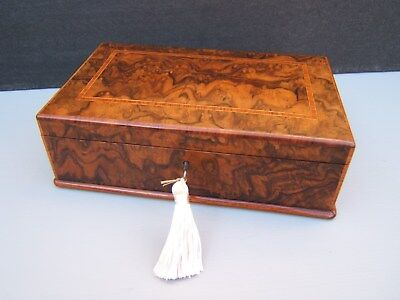 Superb 19C Figured Walnut Inlaid Antique Jewellery Box - Fab Interior