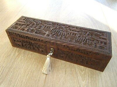 Terrific 19C Hand Carved Chinese Antique Jewellery Box - Fab Interior