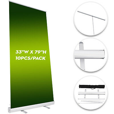 "10 Pack Retractable Roll Up Banner Stand 33X79"" Trade Show Sign Display NEWEST"