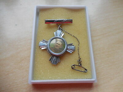 Antique - Vintage - Military Sweetheart Brooch Badge With Photograph