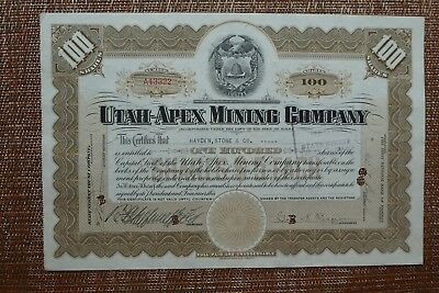 STOCK CERTIFICATE - UTAH-APEX MINING COMPANY  - MAINE - 1937 - Cancelled