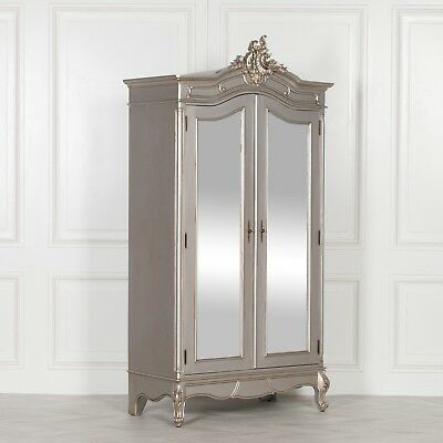 French Silver Boudoir Chateau Mirrored Door Double Hand Carved Armoire Wardrobe