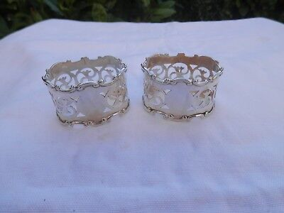 Solid Silver Pair Of Art Nouveau Napkin Rings B/ham 1922 Henry Williamson