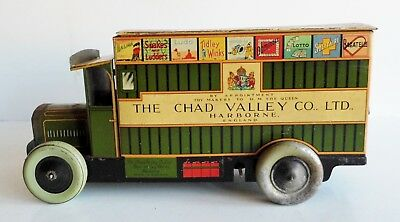 Extremely Rare Antique Clockwork Chad Valley Biscuit Tin - Delivery Truck