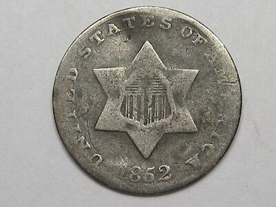 1852 US Silver Three Cent Coin. 3¢.  #10