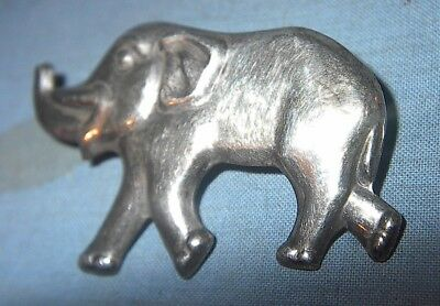 "VINTAGE ANTIQUE ELEPHANT CORO STERLING SILVER JEWELRY PIN BROOCH 2"" long"