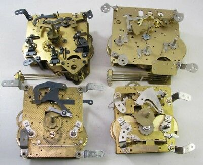Lot Of 4 Vintage Westminster Chime Mantel Clock Movements Parts Repair