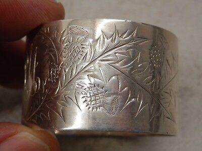 Victorian Solid Silver Napkin Ring Sheffield 1897 George Wish Thistle Decoration
