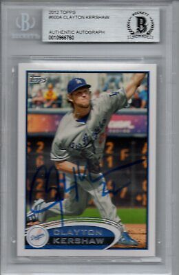 Clayton Kershaw Los Angeles Dodgers 2012 Topps Autograph Signed Card Beckett BAS