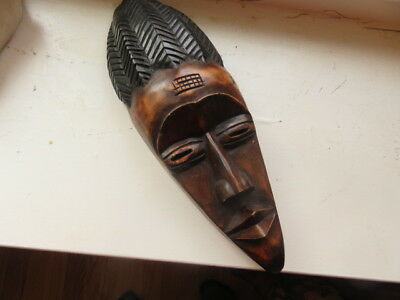 Vintage hand carved Wood African TRIBAL Mask TALL 16''