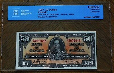 Scarce 1937 $50 Gordon/Towers  Canada Bank Note Certified UNC-62 Changeover