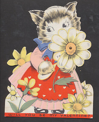 C114 Vintage Mechanical Die Cut Valentine Card: Cat with Daisy