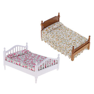 1:25 SINGLE BED for Doll House Miniature DIY Family Bedroom ...