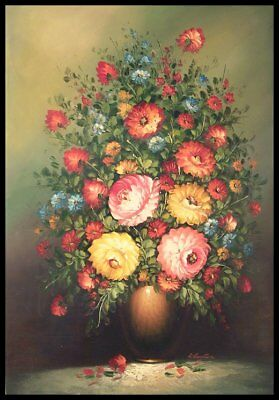 """36""""x24"""" Oil Painting on Canvas, Vase of Flowers, Genuine Hand Painted"""