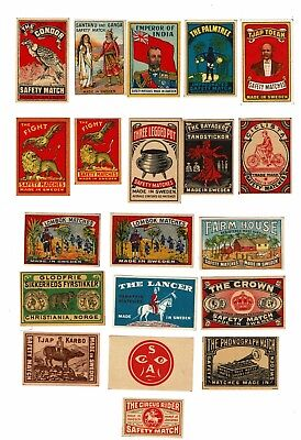 20 Old Sweden c1900s matchbox labels Emperor of India & Various themes