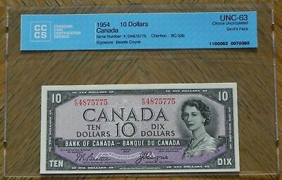 Beautiful 1954 $10 Canada Bank Note Certified UNC-63 Choice Unc. Devil's Face