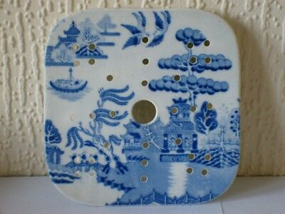 An Antique Staffordshire Blue & White Willow Pattern Tureen Strainer c1850 VGC
