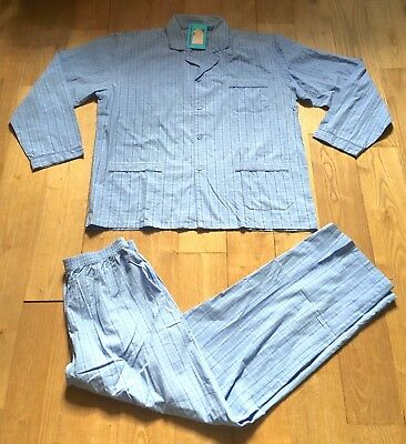 FRENCH 1960s MEN LOUNGE PYJAMAS PAJAMAS~ BLUE PLAID COTTON ~MADE IN FRANCE~NEW~L