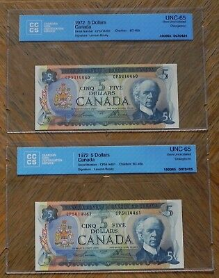 WoW 2x Sequencial 1972 $5 Canada Bank Notes Certified UNC-65 Gem UNC Changeover