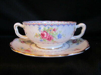 Royal Albert - PETIT POINT - Cream Soup Bowl and Stand  - Made in England