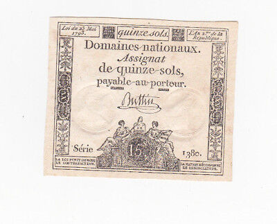 15 Sols Aunc Crispy Banknote From French Revolution 1792!pick-A54!