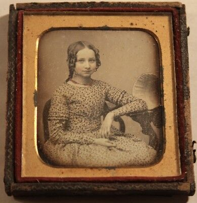 1840s 6th Plate Size Daguerreotype Photo of a Beautiful Teen Age Girl