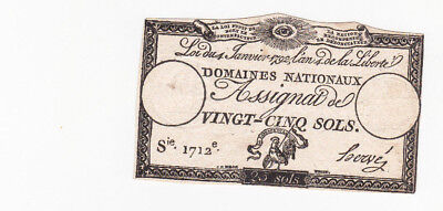 25 Sols Vf Banknote From French Revolution 1792!pick-A55!