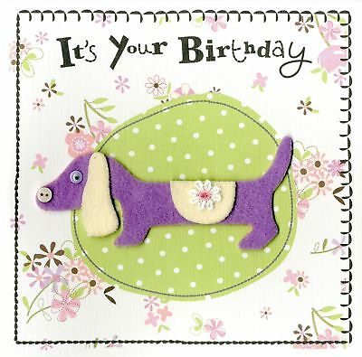 Cute Dog Embellished Birthday Greeting Card Hand-Finished Marshmallow Cards