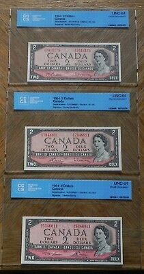 3x Near Gem 1954 $2 Canada Bank Notes Certified UNC-64 Choice UNC Different Sig