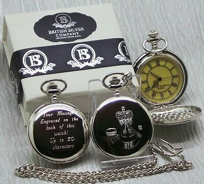 THE RIFLES Engraved Personalised Pocket Watch ARMY RANK NAME DATE FREE OF CHARGE