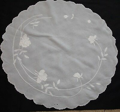"Pretty Antique Hand Embroidered Large 34"" Centerpiece Doily with Roses"