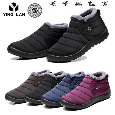 Womens Winter Snow Boots Waterproof Plush Lining Flat Ankle Thickening Shoes TOP