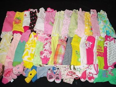 Used Pre-Owened Baby Girl Clothes Lot Nb 0-3 3-6 Months