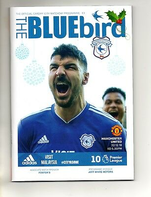 Cardiff City Fc V Manchester United Fc 22/12/2018 Football Matchday Programme