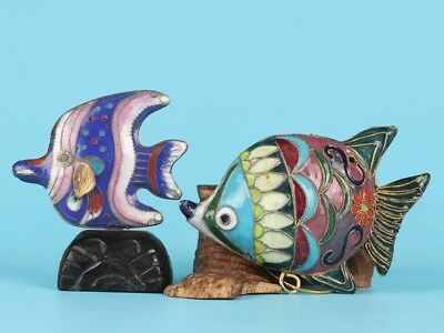 2 Vintage Chinese Cloisonne Enameled Statue Animal Fish Mascot Collection Gift