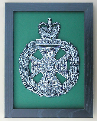 Large Scale Framed ROYAL GREEN JACKETS CAP BADGE Greenjackets Plaque