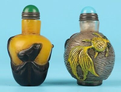 2 Precious Chinese Coloured Glaze Snuff Bottle Hand-Carved Fish Mascot Home Gift
