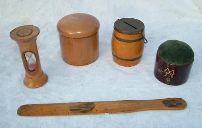 Collection Of Antique Treen Items Pin Cushion Egg Timer Moneybox & Powder Pot