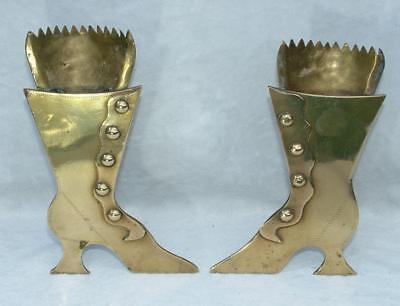 """Pair Of Early Victorian Antique 6"""" Fireside Spill Taper Vases In Form Of Boots"""
