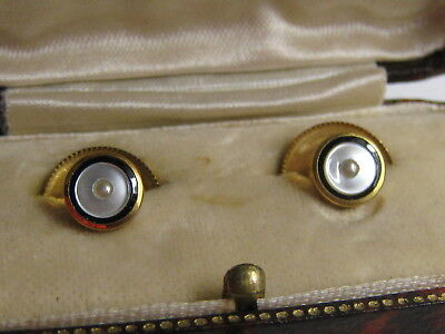 Boxed  Pair Of Antique 9Ct Gold - Mother Of Pearl & Seed Pearl Studs
