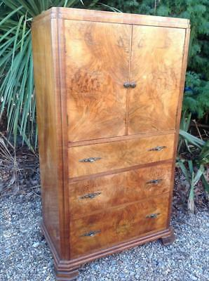 Vintage Art Deco Burr Walnut Cabinet Chest Of Drawers Cocktail Cabinet 30's Chic