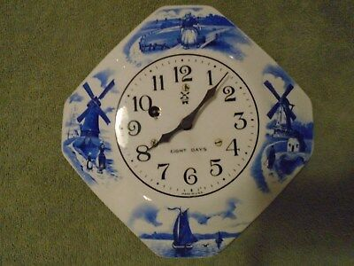 Antique / Vintage  Porcelain 8 Day Wind Up Kitchen Wall Clock RUNS ! GREAT!