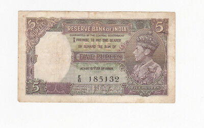5 Rupees Fine+ Banknote From British India 1937!pick-18!!
